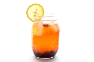 saffron lemonade with blackberries
