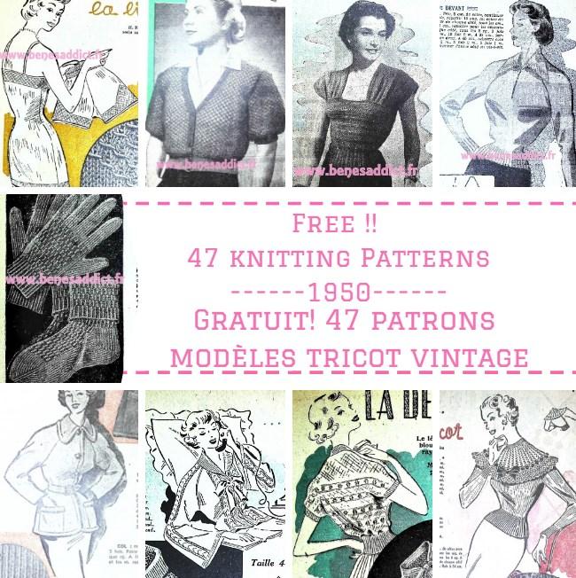 47 Patronsmodles Gratuits De Tricot Vintage 1950 Free Knitting