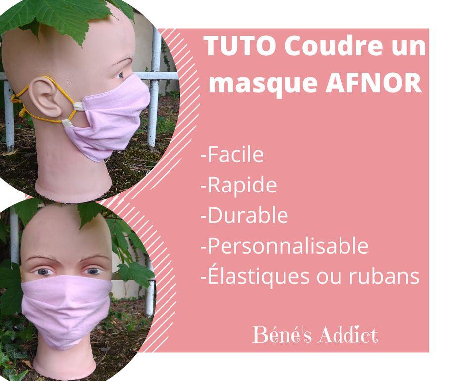 Coudre un Masque AFNOR PERSONNALISABLE facile, rapide avec élastiques ou rubans interchangeables!