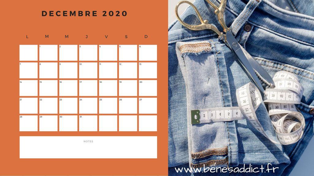 Cadeau! Calendrier 2020/2021 Couture à imprimer ou télécharger!