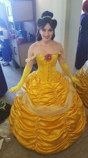 "Burlesque Star Remy Dee wearing a commissioned ""Belle"" gown"