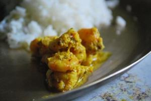 Chingri Bhape with steamed rice