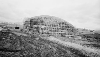 The main dome of Laugardalshöll under construction in the 1960s. The venue holds about 5,000 spectators and fans. Photo courtesy of the Grapevine