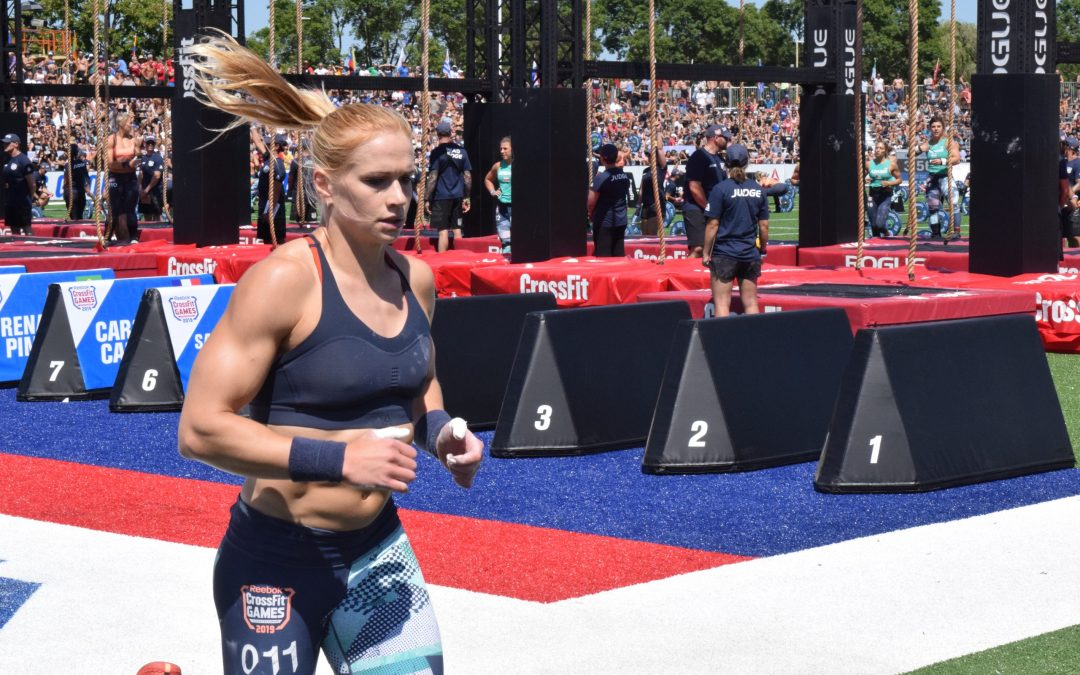 Annie Thorisdottir completes a run before starting her legless rope climbs at the CrossFit Games.