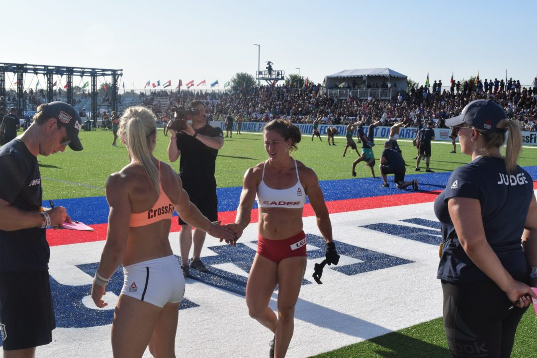Katrin Davidsdottir gives a hug to Tia-Clair Toomey after an event at the 2019 CrossFit Games