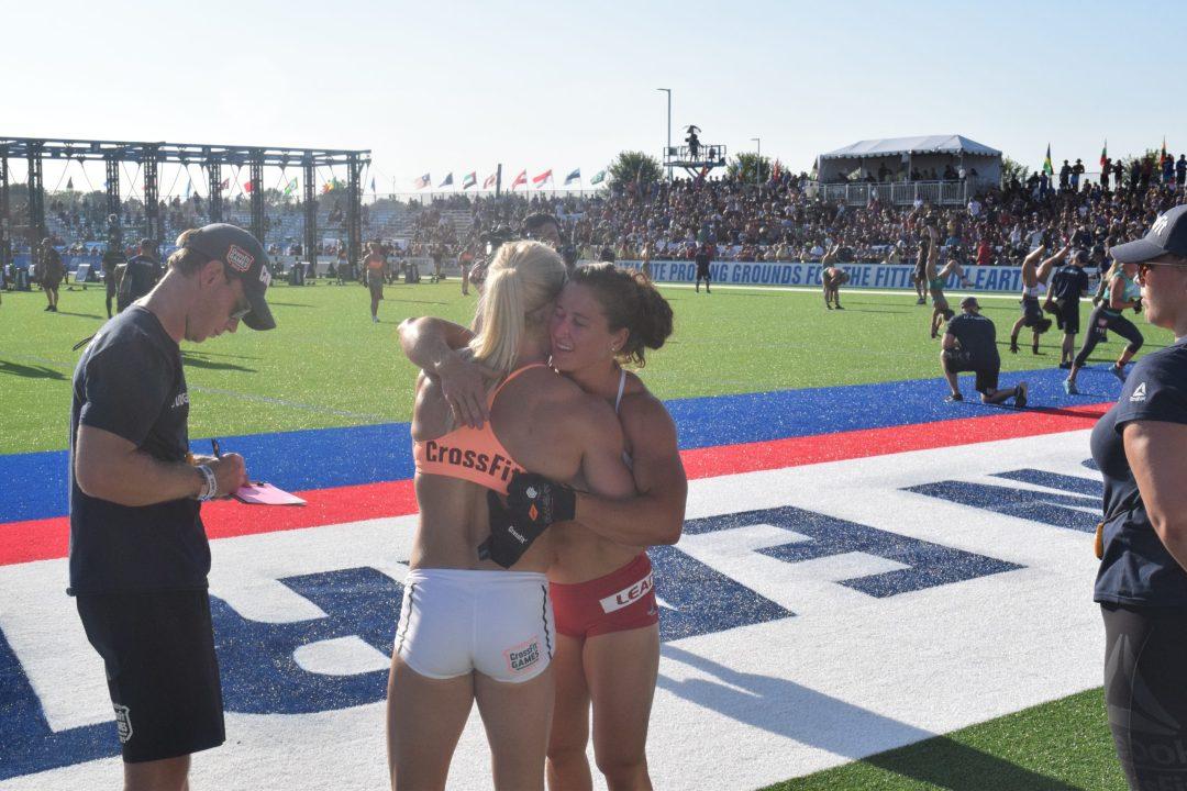 Tia-Clair Toomey hugs Katrin Davidsdottir after an event at the 2019 CrossFit Games.