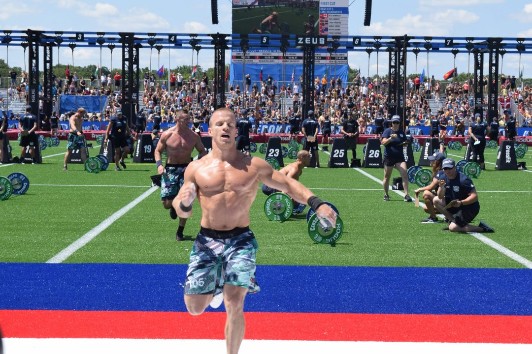 Scott Panchik crosses the finish line at the first event of the 2019 CrossFit Games