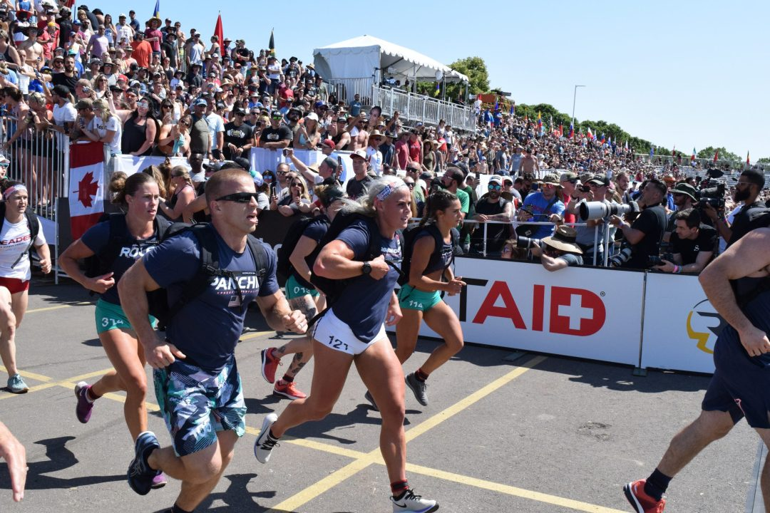 Sara Sigmundsdottir completes the Ruck Run event at the 2019 CrossFit Games.