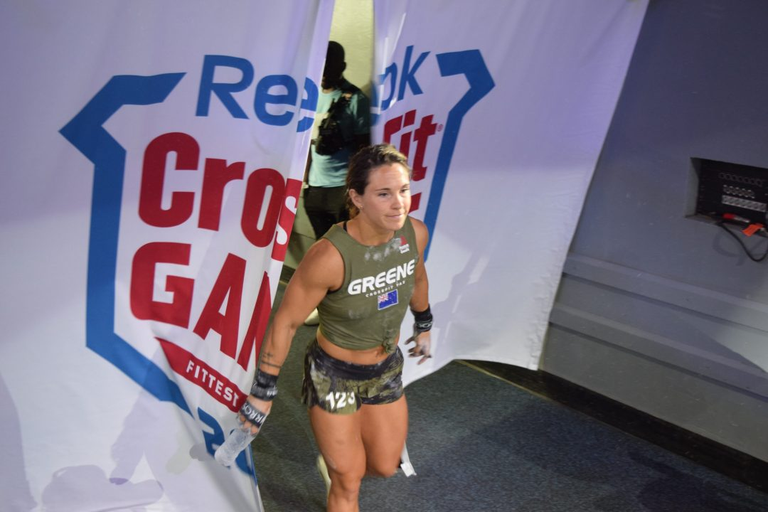 Jamie Greene enters the floor of the Coliseum on the final day of the 2019 CrossFit Games