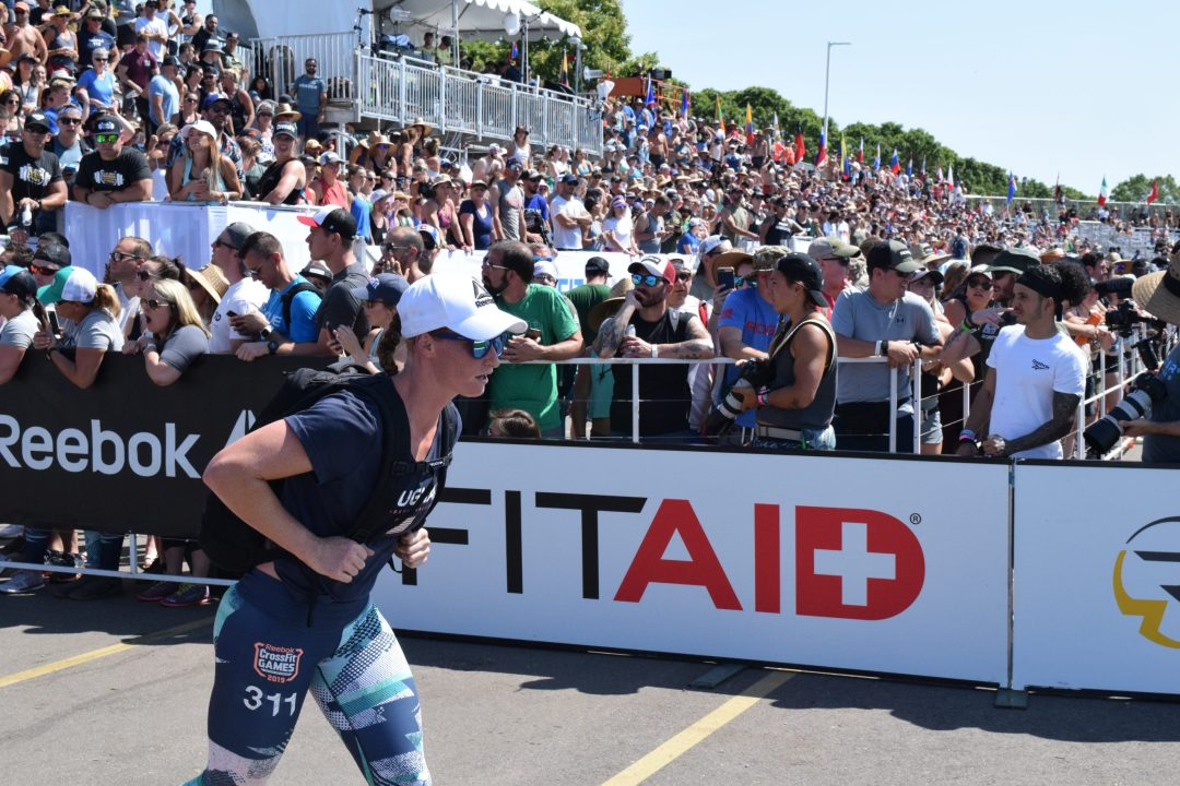 Lindsay Vaughan completes the Ruck Run event at the 2019 CrossFit Games