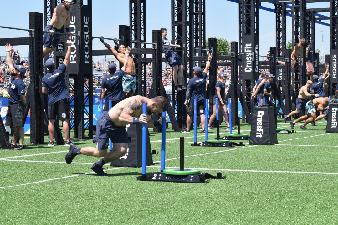 Matt Mcleod completes the Sprint Bicouplet event at the 2019 CrossFit Games