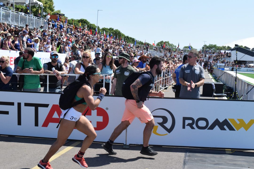 Rachel Garibay completes the Ruck Run event at the 2019 CrossFit Games