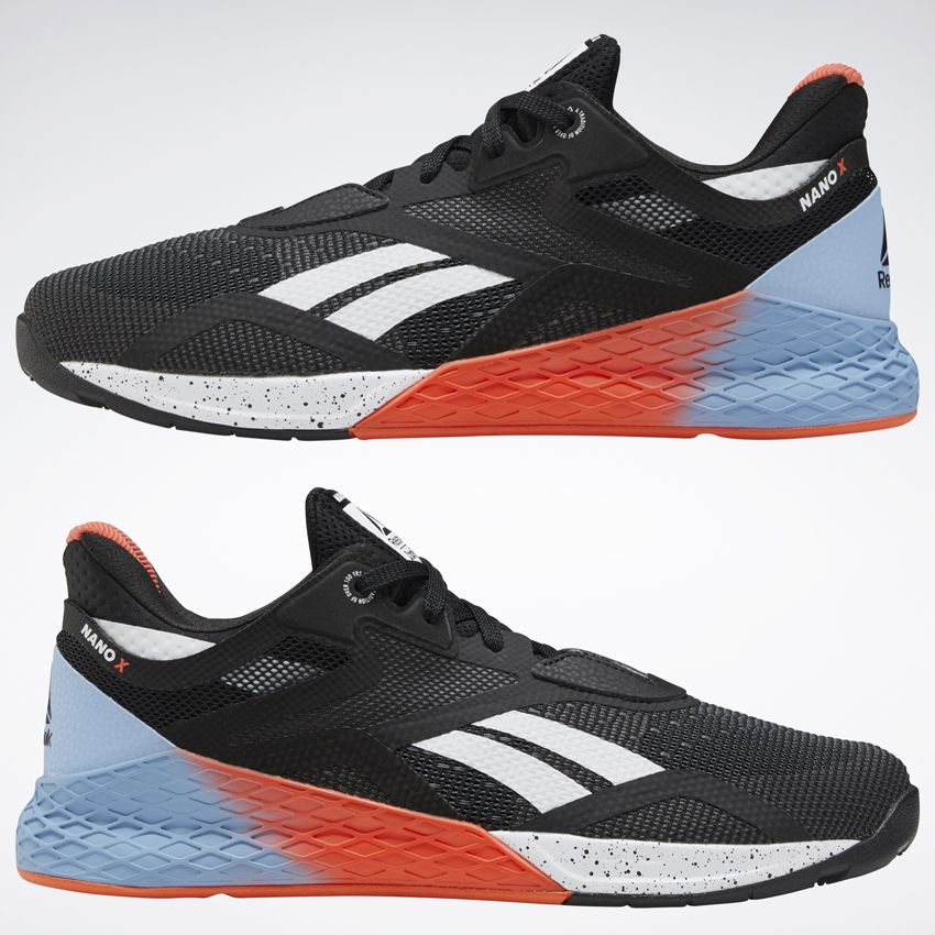 The first image of the Reebok Nano X shoes the shoes in the anterior and posterior (inside and outside of the foot)