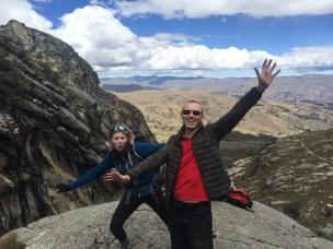 Ben and Sonia at the top of the scramble to Lake Churup