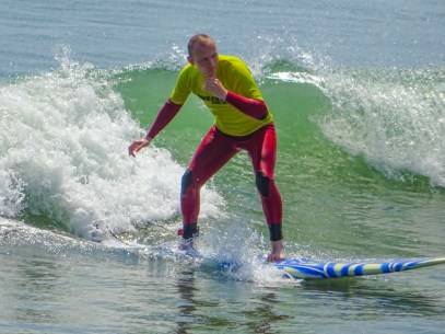 Riding a wave in Huanchaco