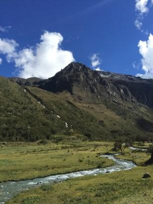 Stream on the plateau of Laguna 69 hike