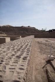 Thick adobe walls at Huaca Pucllana