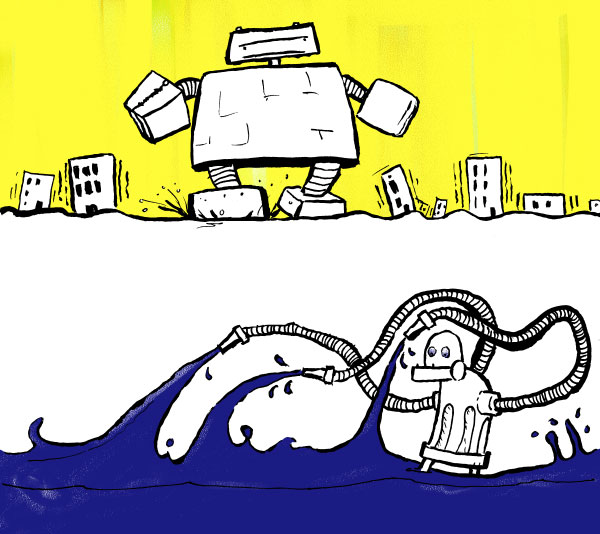 spot illustrations for disaster article