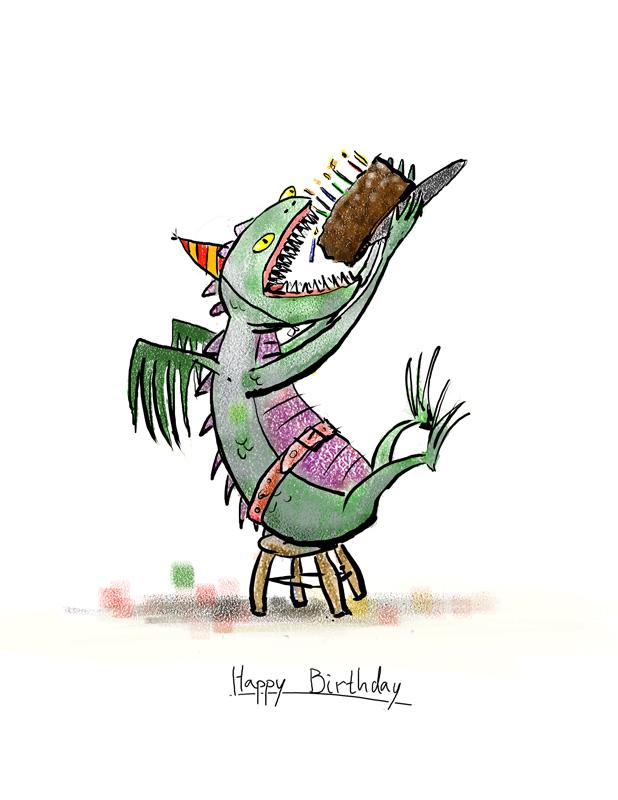 monster eating a birthday cake