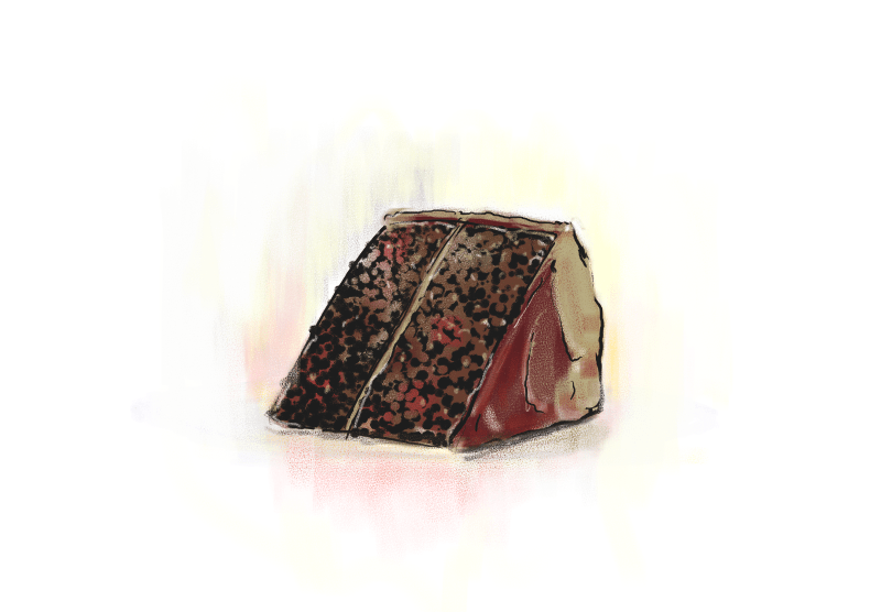 A drawing of a slice of chocolate cake