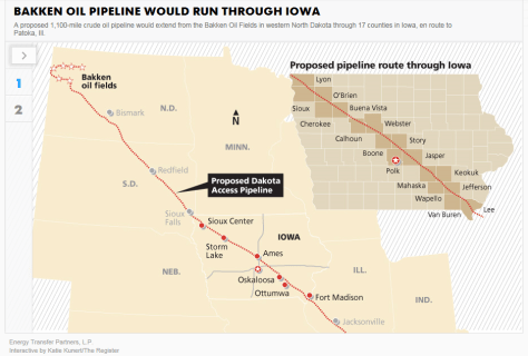 Bakken pipeline Iowa map