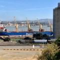 Petcoke ship at Valero's dock (mjb)