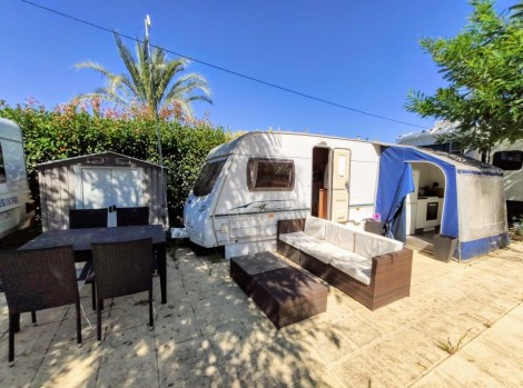 A touring caravan and awning for sale on Camping Almafra Campsite in Benidorm