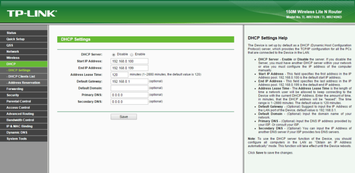 Disable DHCP (click image to enlarge)