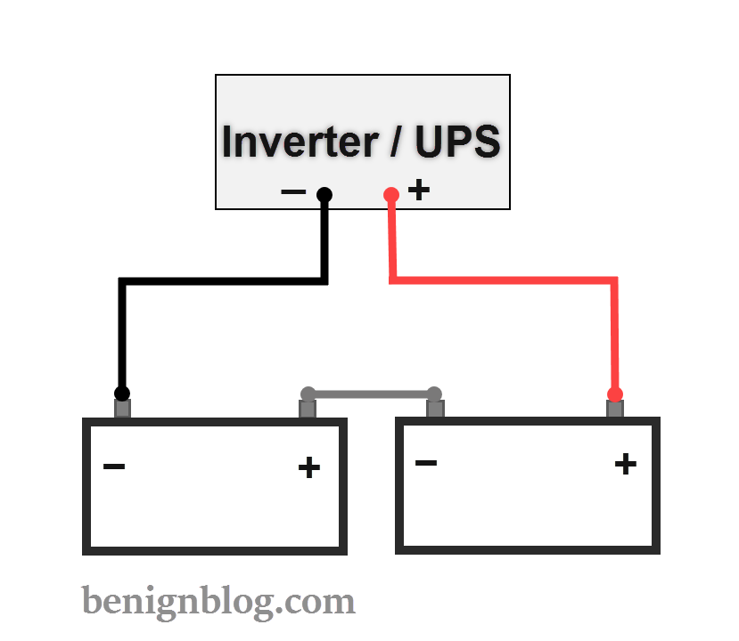 how to connect batteries in series with power inverter or ups rh benignblog com wiring two marine batteries together wiring two rv batteries together