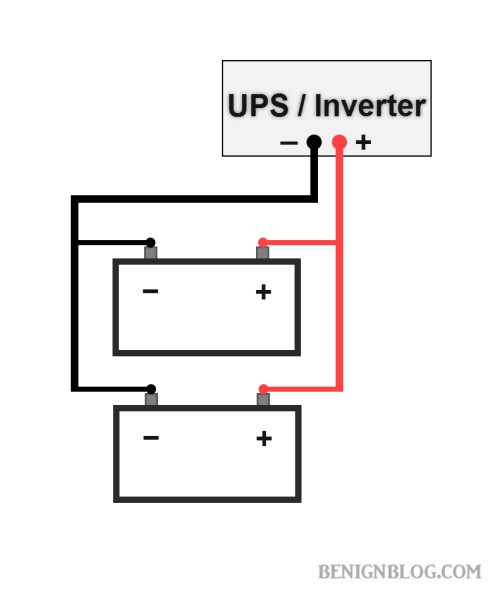 2 Batteries Connected in Parallel with Power Inverter / UPS - Wiring Diagram