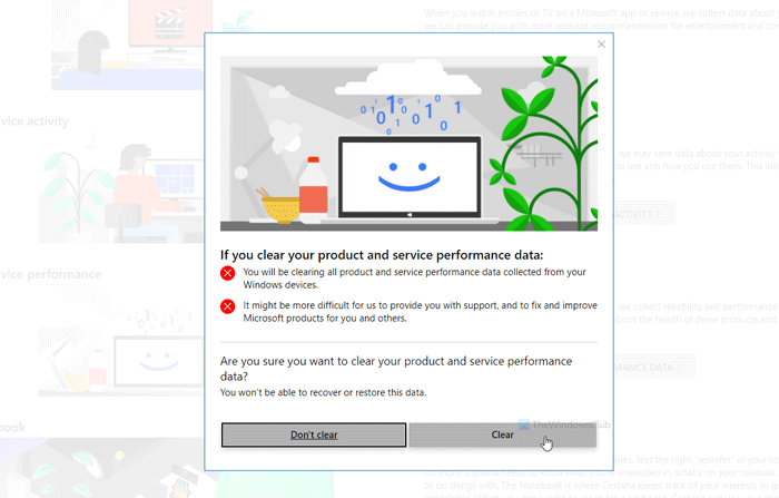 How to delete Product and service performance data from Microsoft account