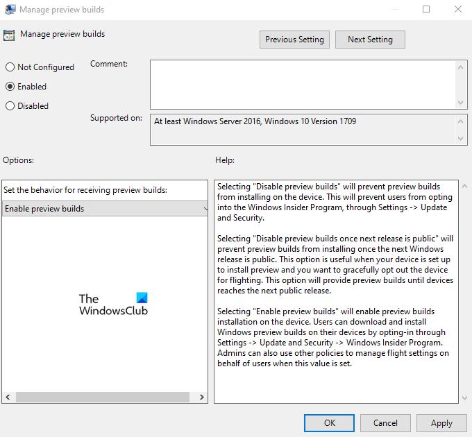 Disable Windows Insider Program Settings in Windows 10