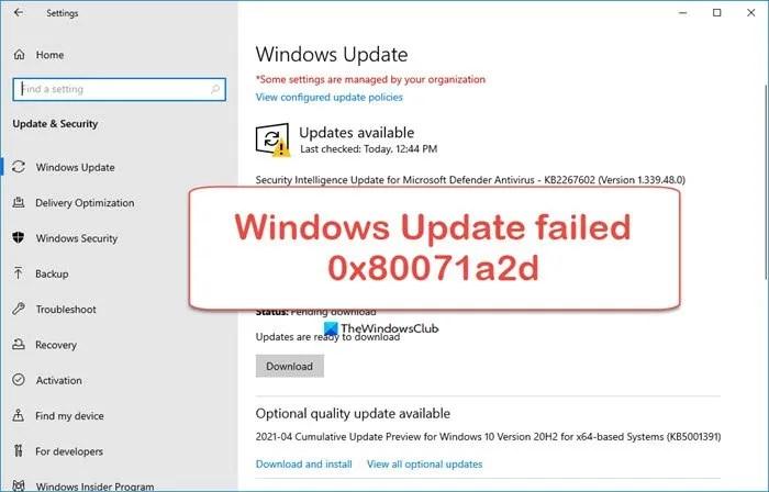 Fix 0x80071a2d Windows Update error
