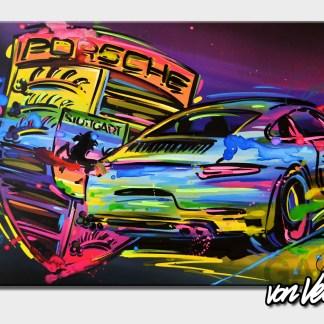 Sportscar, colorful graffiti, canvas, german, 911, carrera, Beni, veltum, art