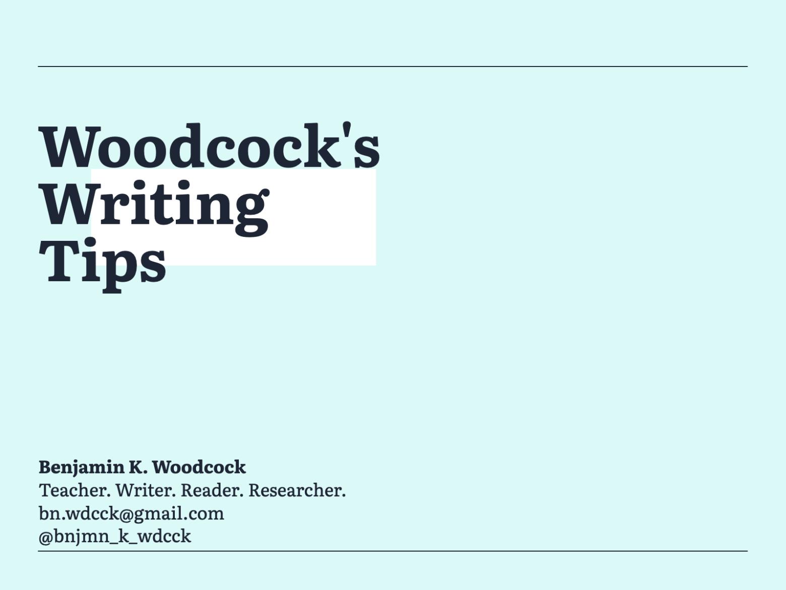 Woodcock's Writing Tips – Formatting Titles