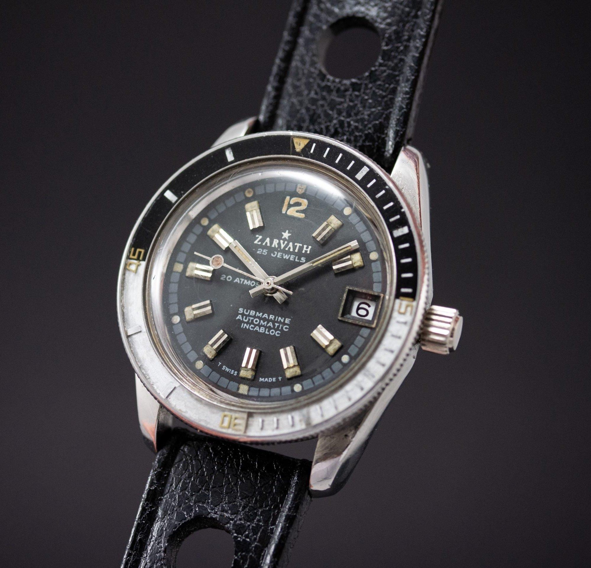 vintage Zarvath 25 jewels Automatic Vintage Diver Bakelite Bezel Tritium
