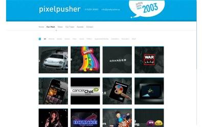 Screenshot of the Project Protfolio Wordpress custom page template for Pixelpusher