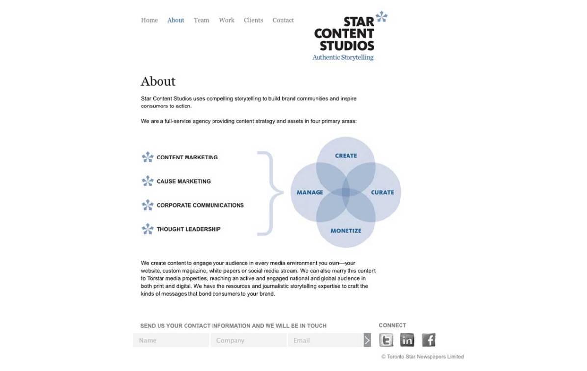 Screenshot of SCS Wordpress CMS default page template.