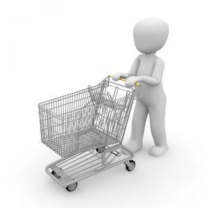 Muñeco genérico, blanco  empujando un carro de compras.