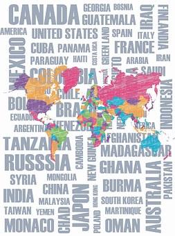 Poster con los nombres de varios países de fondo, y sobre estos un mapamundi de colores.