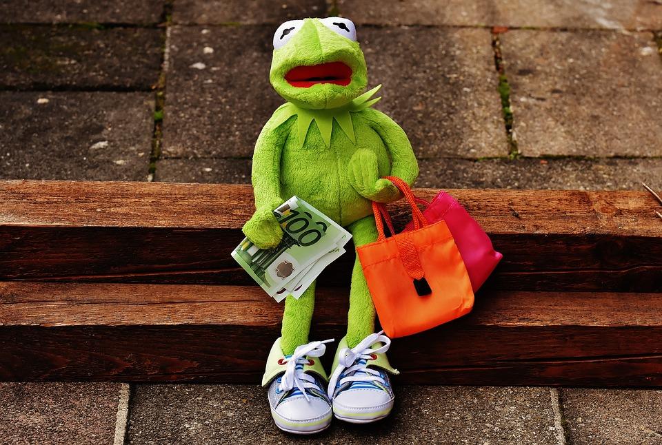 La rana Rene de los Muppets sentada, con un billete de 100 euros y dos bolsas de compras y expresión de desaliento.