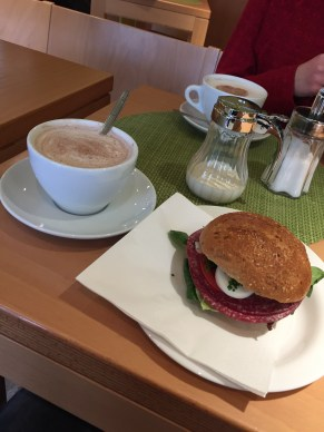 Hot chocolate and a sandwich with an unknown meat (it was in German haha). Very good, though!