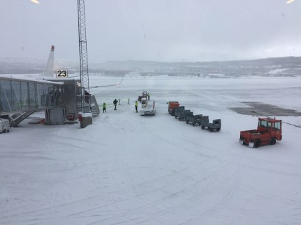 After our second flight attempt, we made it to Tromsø. This is the runway. Somehow our plane was able to land on the snow and ice. It was a bit scary, but it all worked out in the end :)