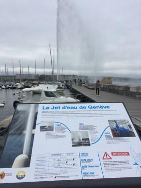 Day 3 in Switzerland: Geneva. It was a bit rainy, but that didn't stop us. This is Le Jet d'eau de Genève.