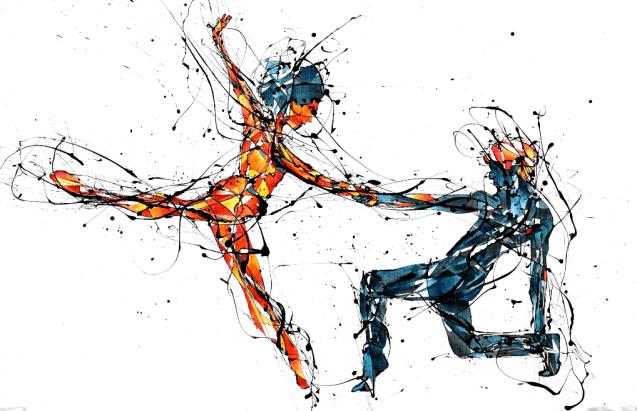 La Bailarina Paticorta y el Bailarín Azul (98 cm x150 cmEsmalte y acuarela sobre crea)