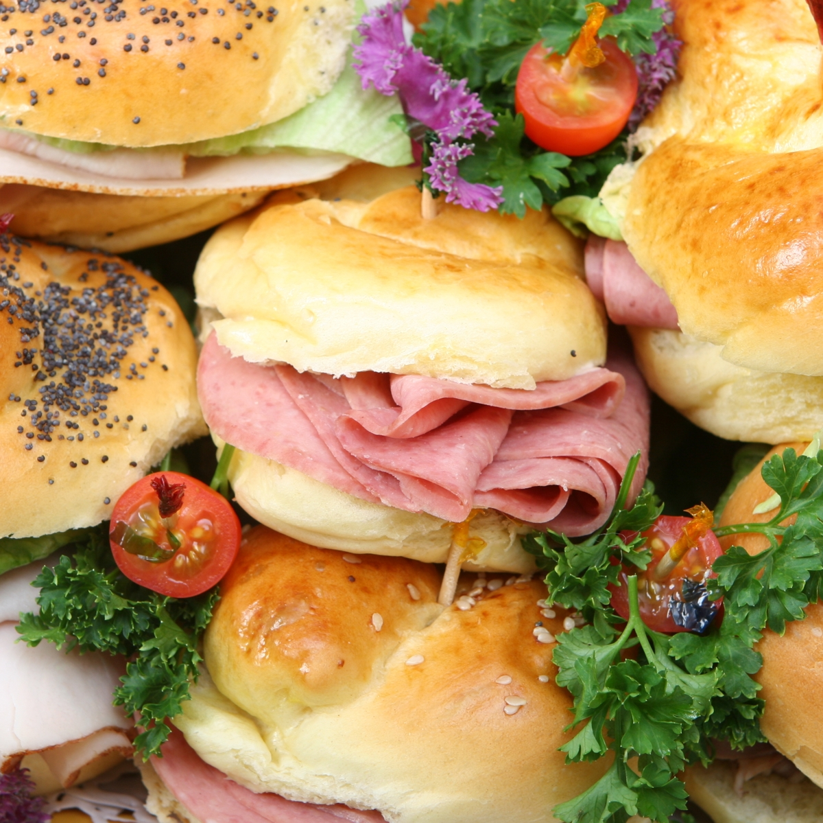 Stacks of catering possibilities. This image show some delicious bite sandwiches.