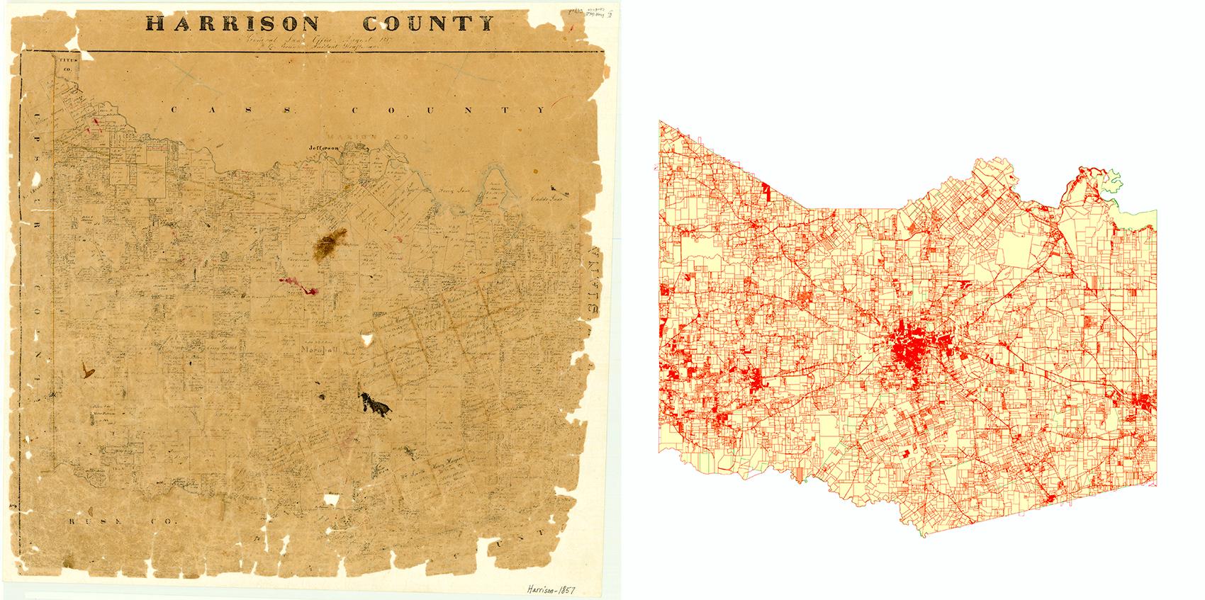 Harrison County Map, 1857 & 2015