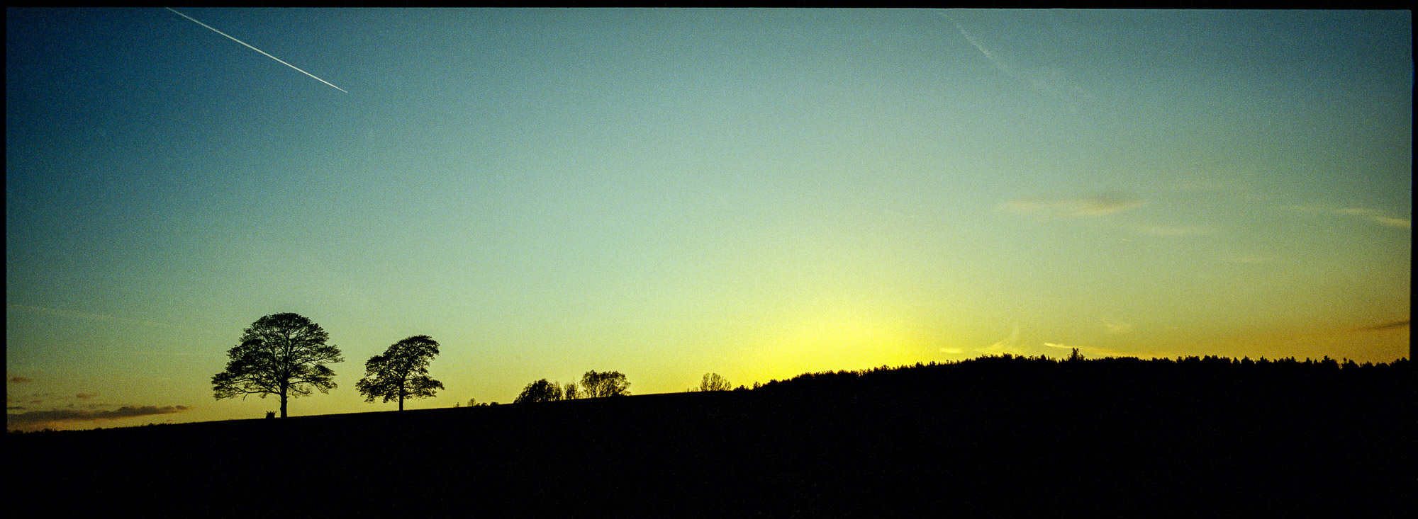 a sunset panaorama of shipley park using a hasselblad xpan
