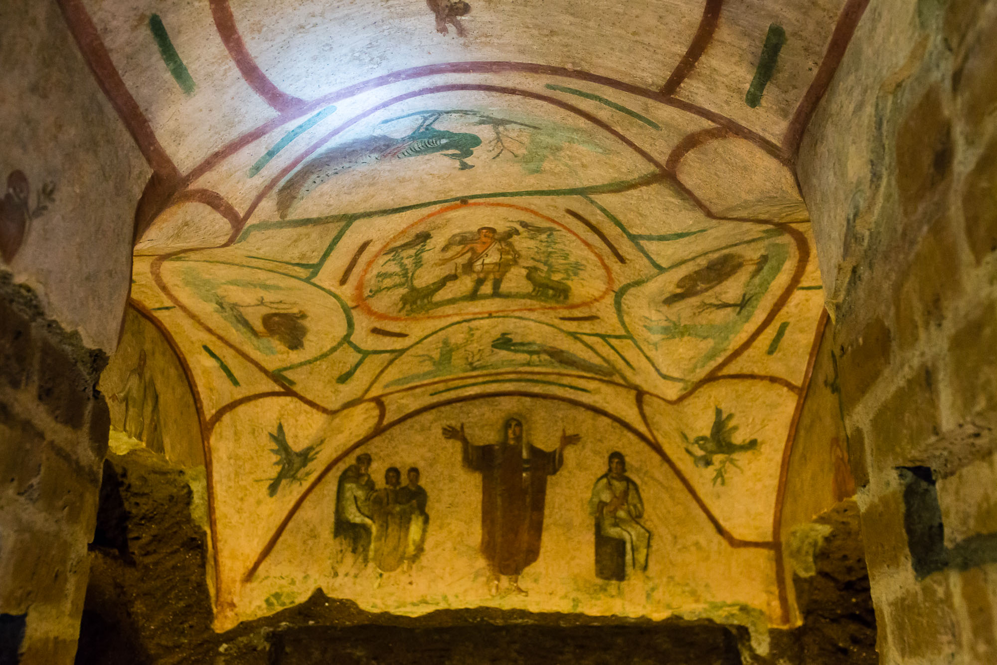 A fresco in the catacombs of priscilla, taken by Ben Lee, a derbyshire based photographer on his trip to Rome.