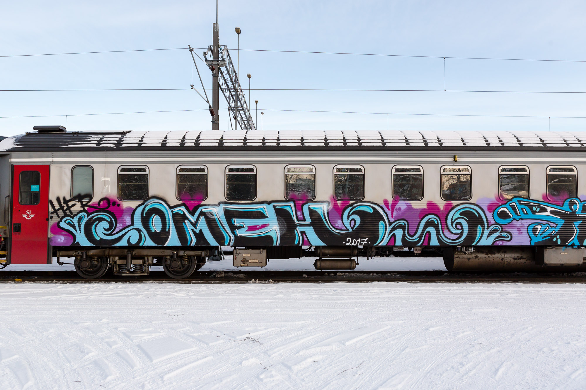 Train covered in graffitti, Luleå, Sweden January 2017, Ben Lee Photography